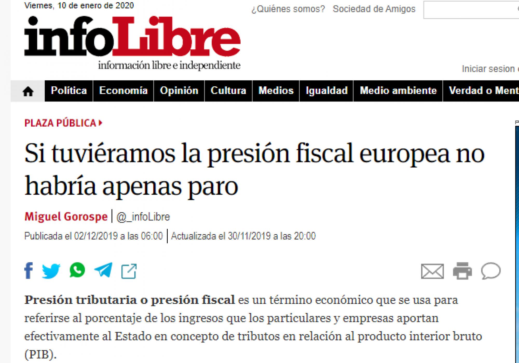 Si tuviéramos la presión fiscal europea no habría apenas paro