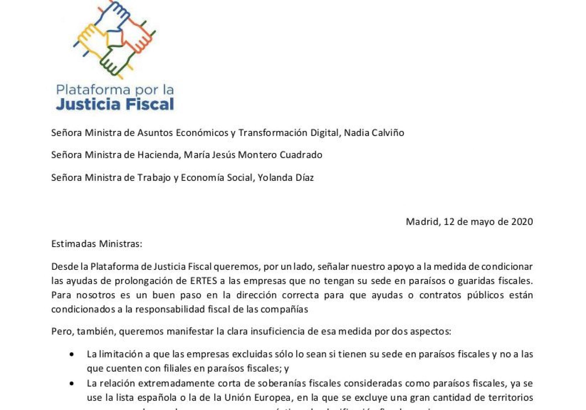 La Plataforma por la Justicia Fiscal envía una carta a las Ministras de Economía, Hacienda y Trabajo para exigir que las empresas que operan en paraísos fiscales no sean rescatadas