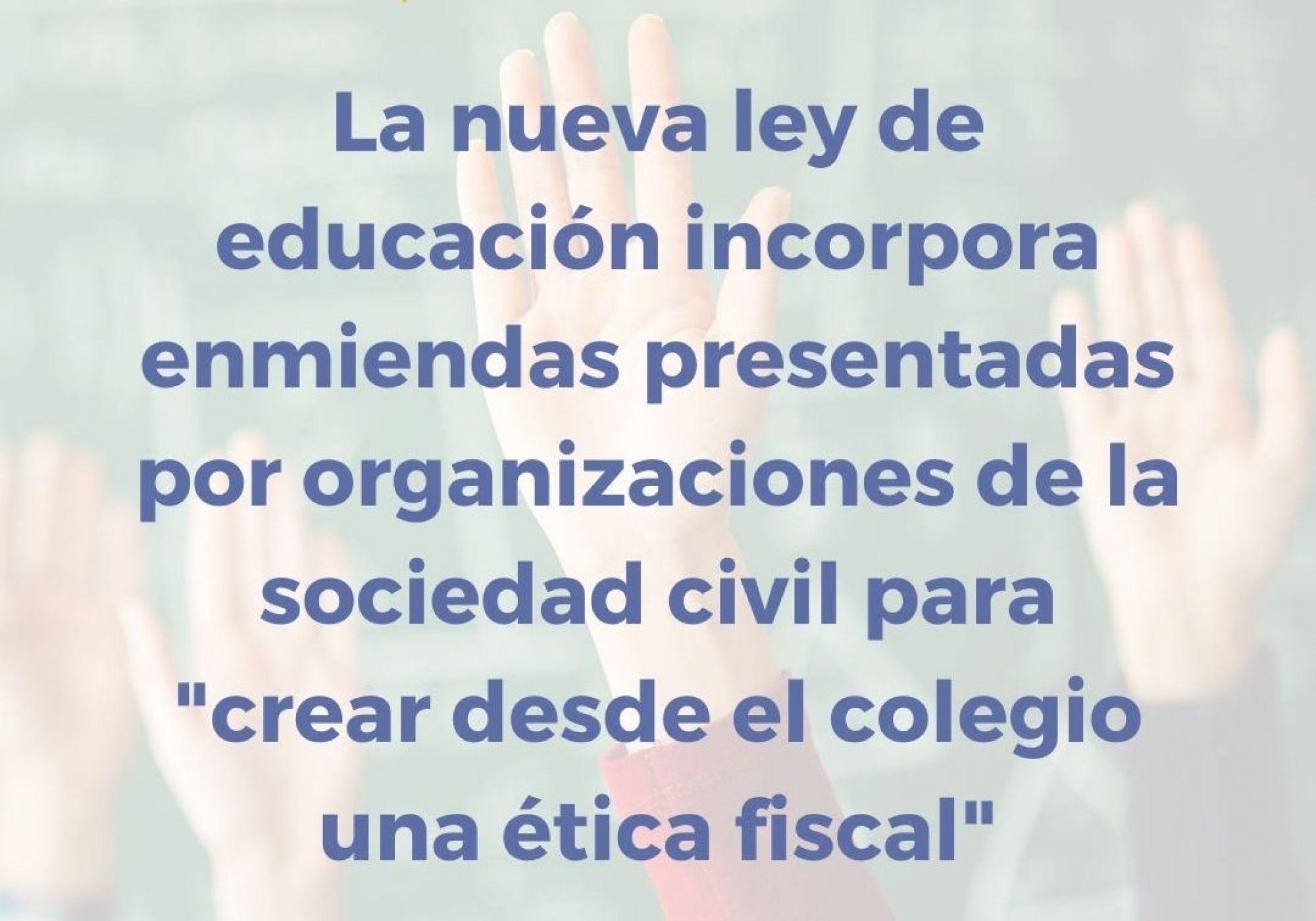 Aprobada la enmienda promovida por organizaciones sociales, entre ellas la Plataforma por la Justicia Fiscal, para que se sepa en el colegio para qué valen los impuestos